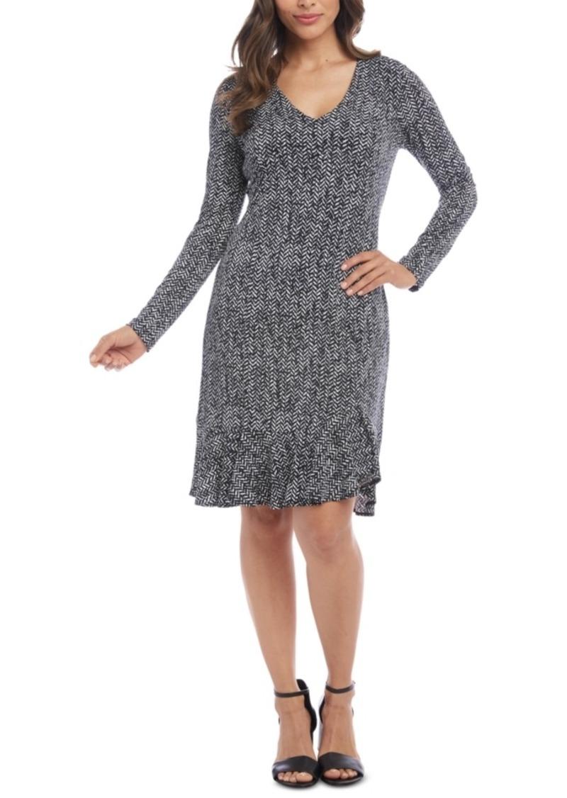 Karen Kane Flounce-Hem Sheath Dress