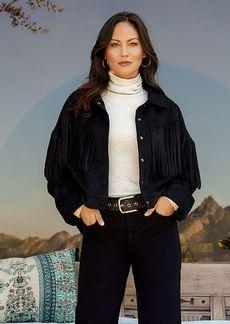 Karen Kane Fringe Faux Suede Jacket