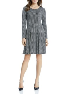 Karen Kane Geo Diamond Print Flared Dress