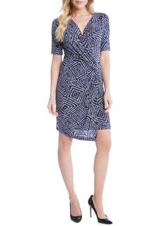 Karen Kane Geo Print Cascade Faux Wrap Dress
