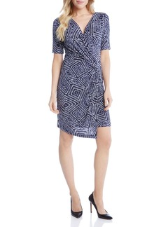 Karen Kane Geometric Print Faux Wrap Dress