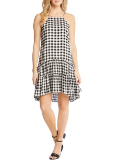 Karen Kane Gingham Ruffle Hem Halter Top Dress