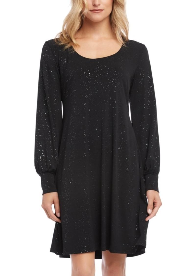 Karen Kane Glitter Blouson-Sleeve A-Line Dress