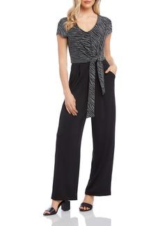 Karen Kane Glitter Bodice Tie Front Jumpsuit