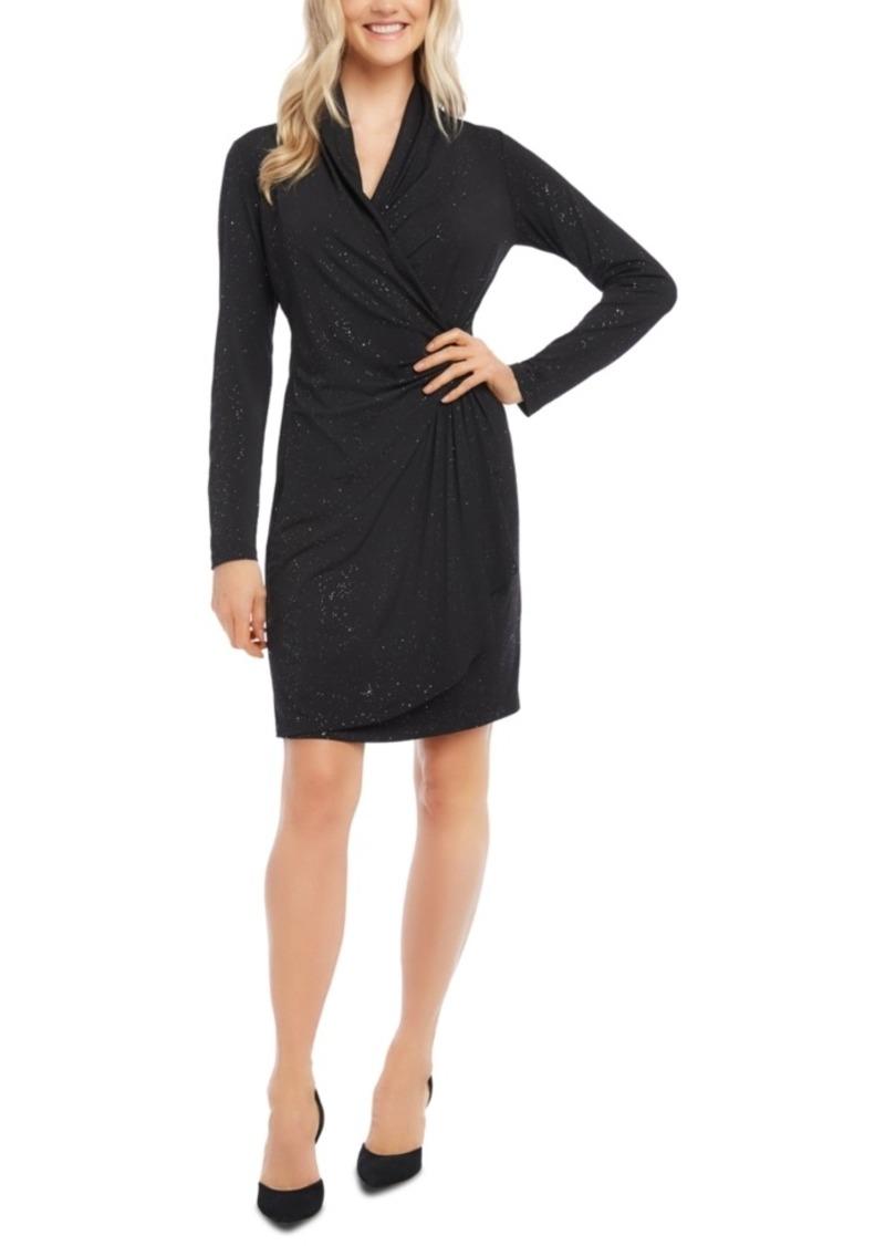 Karen Kane Glitter Long-Sleeve Faux-Wrap Dress