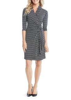 Karen Kane Graphic Cascade Faux Wrap Dress