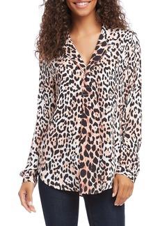 Karen Kane Half Placket Leopard Shirt