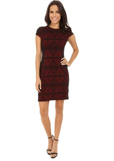 Karen Kane Knit Jacquard Contrast Dress