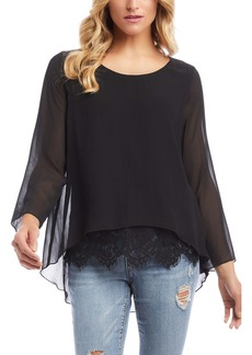 Karen Kane Lace Hem Chiffon Layered Top