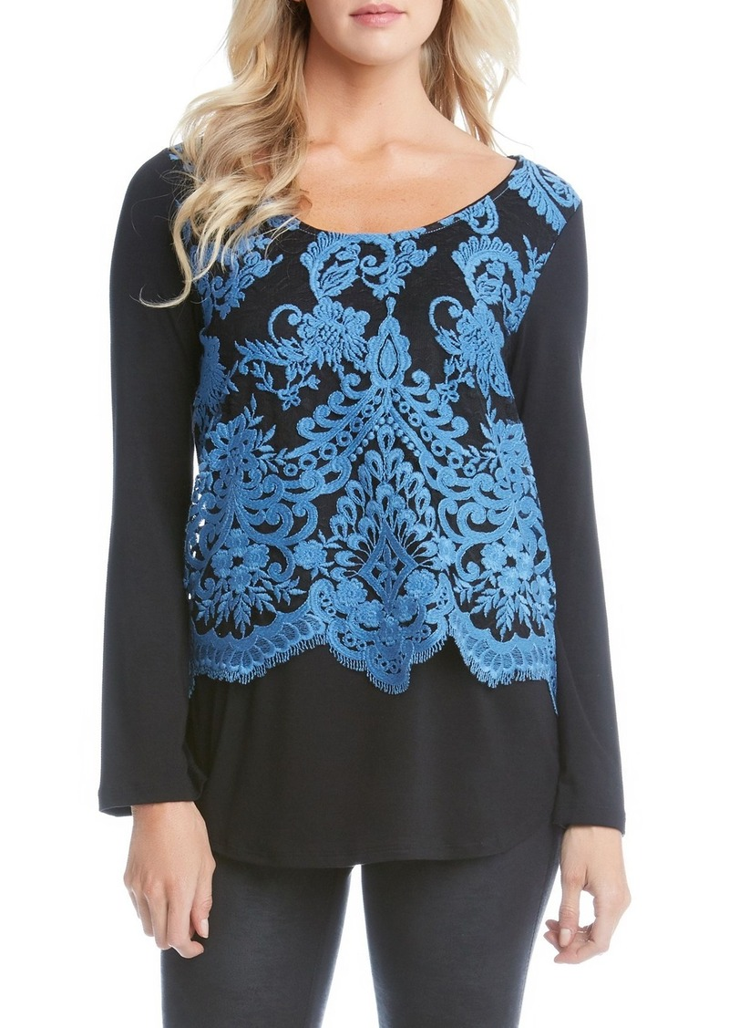 Karen Kane Lace Overlay Jersey Top