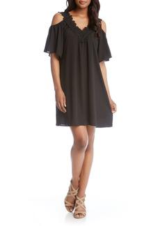 Karen Kane Lace Trim Crepe Cold Shoulder Dress
