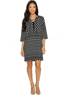 Karen Kane Lace-Up 3/4 Sleeve Dress