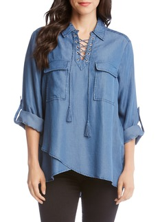 Karen Kane Lace-Up Neck Shirt