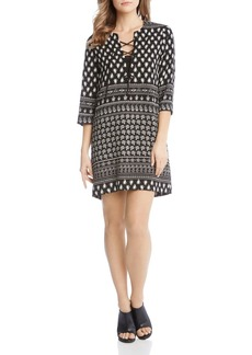 Karen Kane Lace-Up Printed Dress