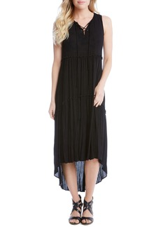 Karen Kane Lace-Up Tiered High/Low Dress