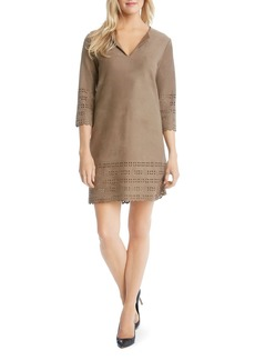Karen Kane Laser Cut Faux Leather Shift Dress
