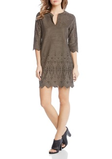 Karen Kane Laser-Cut Faux-Suede Dress