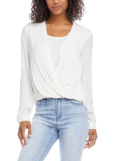 Karen Kane Layered Wrap Front Long Sleeve Crepe Blouse