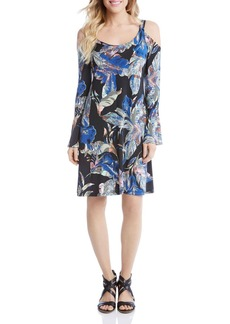 Karen Kane Leaf Print Cold Shoulder Dress