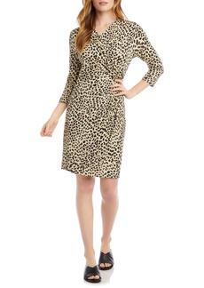 Karen Kane Leopard Cascade Faux Wrap Dress