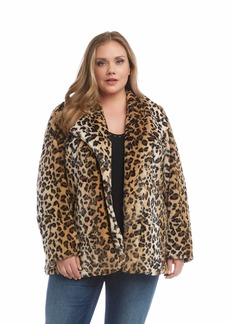 Karen Kane Leopard-Faux Fur Coat Size Medium