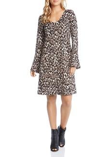 Karen Kane Leopard Print Bell Sleeve Dress