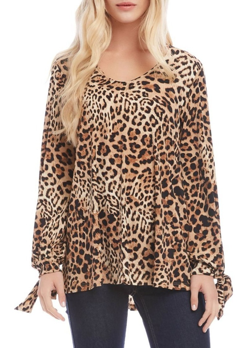 Karen Kane Leopard-Print Long-Sleeve Top