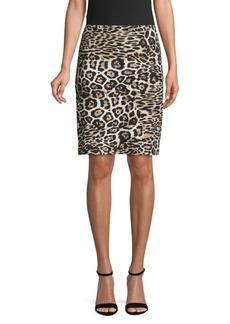 Karen Kane Leopard-Print Pull-On Skirt