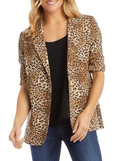 Karen Kane Leopard Print Ruched Sleeve Jacket