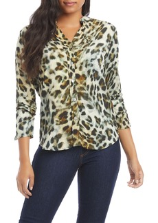 Karen Kane Leopard Print Shirred Sleeve Shirt