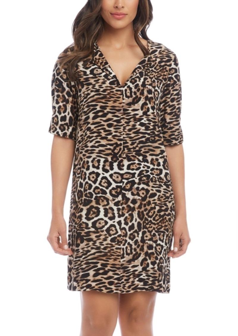 Karen Kane Leopard-Print Split-Neck Dress
