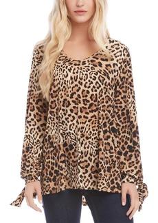 Karen Kane Leopard-Print Tie-Cuff Top