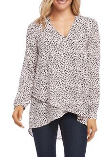 Karen Kane Leopard Print V-Neck Crossover Top