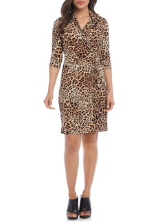 Karen Kane Long Sleeve Cascade Faux Wrap Dress