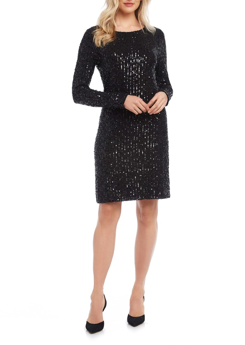 Karen Kane Long Sleeve Sequin Sheath Dress