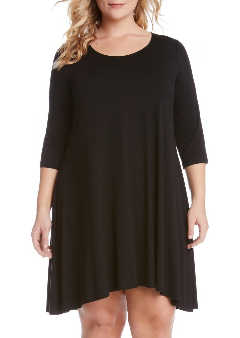 \'Maggie\' Three Quarter Sleeve Trapeze Dress (Plus Size)