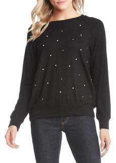 Karen Kane Marled Faux Pearl-Embellished Sweatshirt