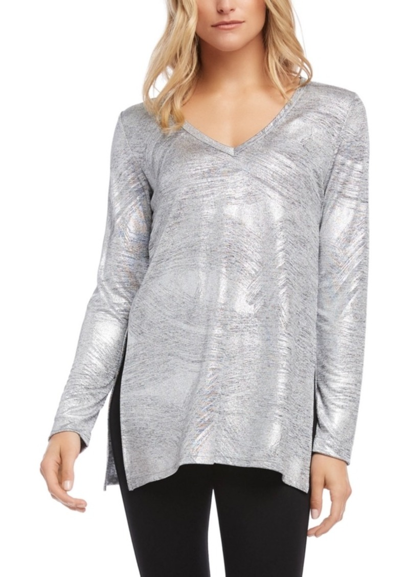 Karen Kane Metallic-Knit Top