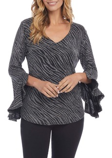 Karen Kane Metallic Ruffle Sleeve V-Neck Top