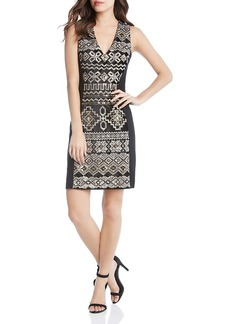 Karen Kane Metallic Sequin Embroidered Sheath Dress