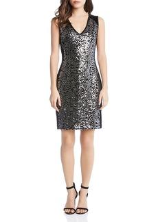 Karen Kane Metallic Sequin Sheath Dress
