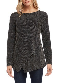 Karen Kane Metallic Stripe Asymmetrical Long Sleeve Top