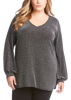 Karen Kane Metallic V-Neck Top (Plus Size)