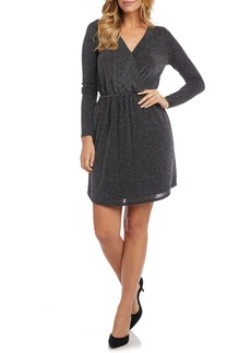 Karen Kane Metallic Wrap Front Long Sleeve Dress