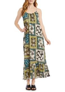 Karen Kane Mix Tile Ruffle Hem Maxi Dress