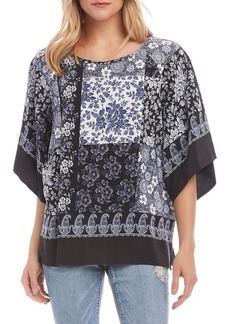 Karen Kane Modern Sleeve Patch Border Crepe Top