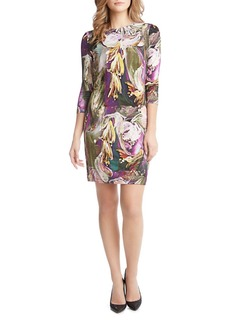 Karen Kane Painted-Floral-Print Sheath Dress