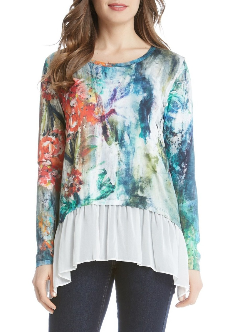 Karen Kane 'Painted Hydrangea' Sheer Hem Top