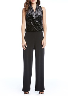 Karen Kane Palazzo Velvet & Crepe Jumpsuit