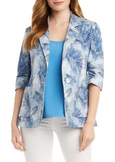Karen Kane Palm Print Ruched Sleeve Stretch Cotton Jacket